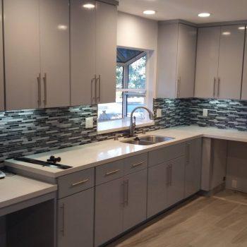 White Slab Modern Kitchen Cabinet